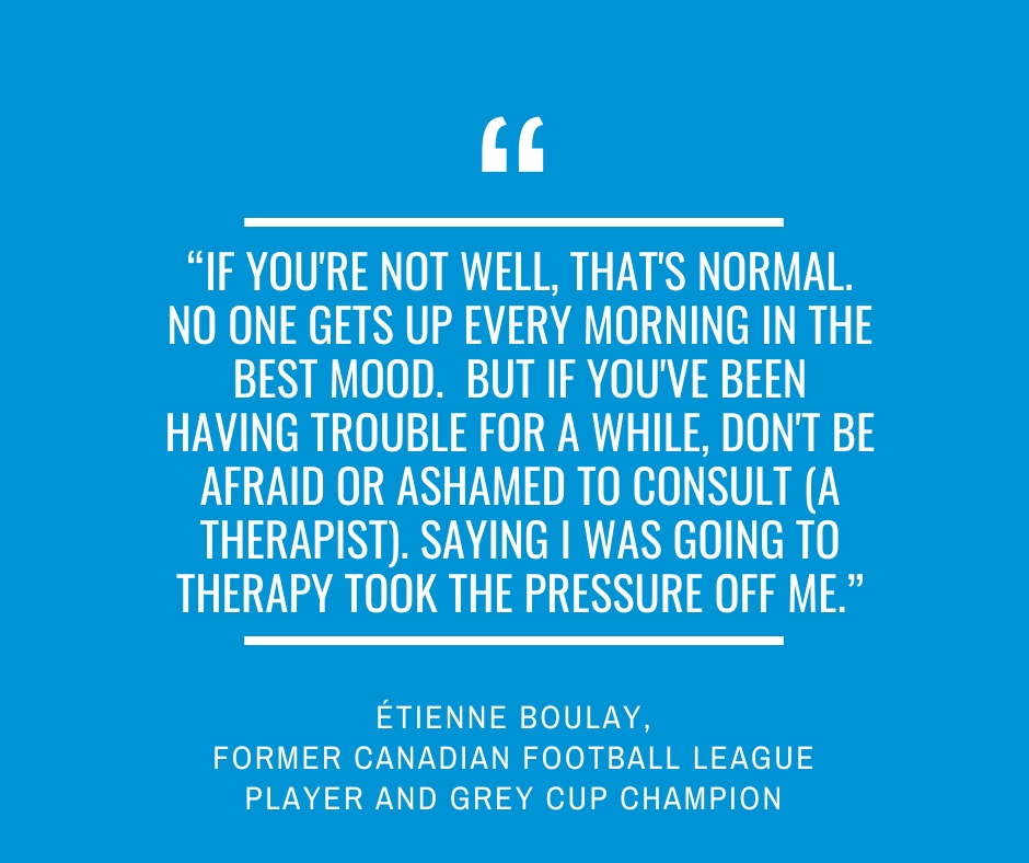 """If you're not well, that's normal. No one gets up every morning in the best mood.  But if you've been having trouble for a while, don't be afraid or ashamed to consult (a therapist). Saying I was going to therapy took the pressure off me.""