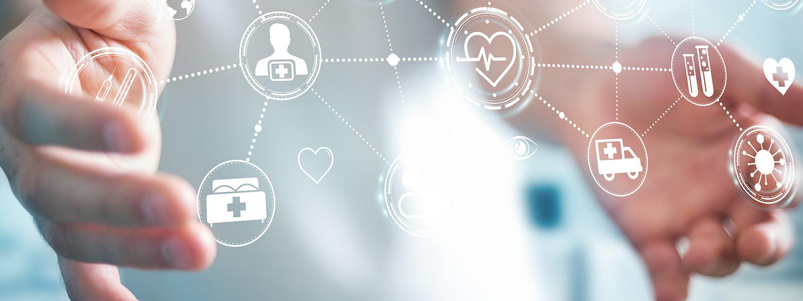 Digital Symbols Of Health Benefit Providers Between Two Hands