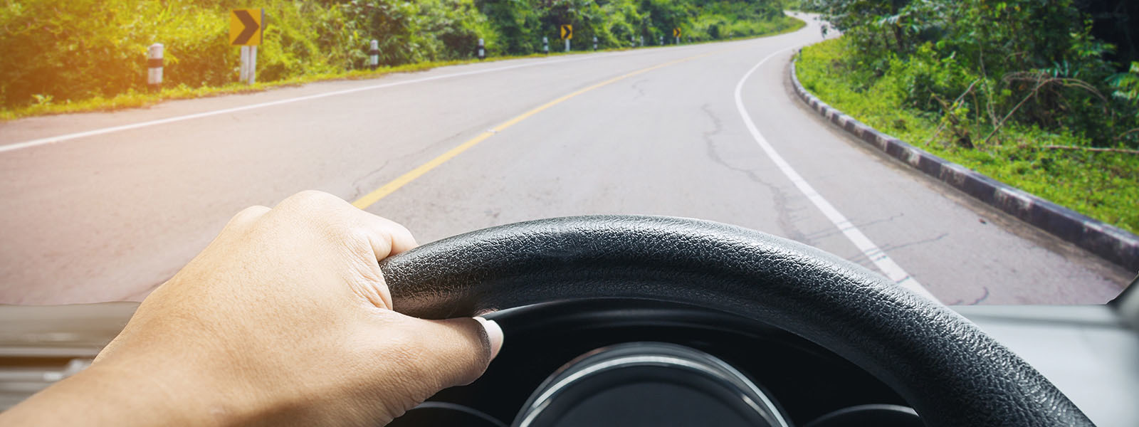 Image of person driving a car looking at a winding road lined with trees
