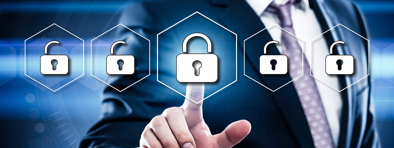 Image of man pointing to a digital lock for cybersecurity awareness