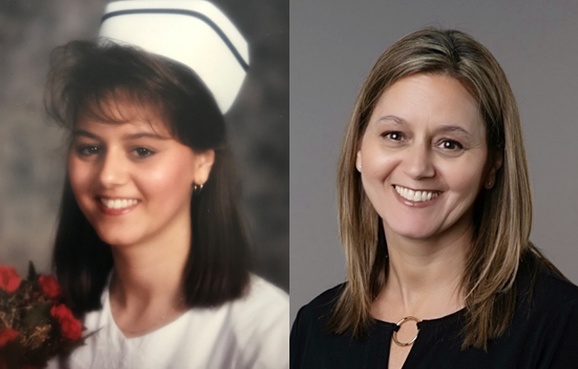 Tracey-Armstrong-Nurse-who-works-for-Medavie-Blue-Cross-in-RN-graduate-photo-alongside-current-photo.jpg?mtime=20200511131811#asset:26833