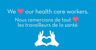 We love our health care workers graphic
