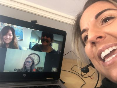 Team talking to each other over a video call