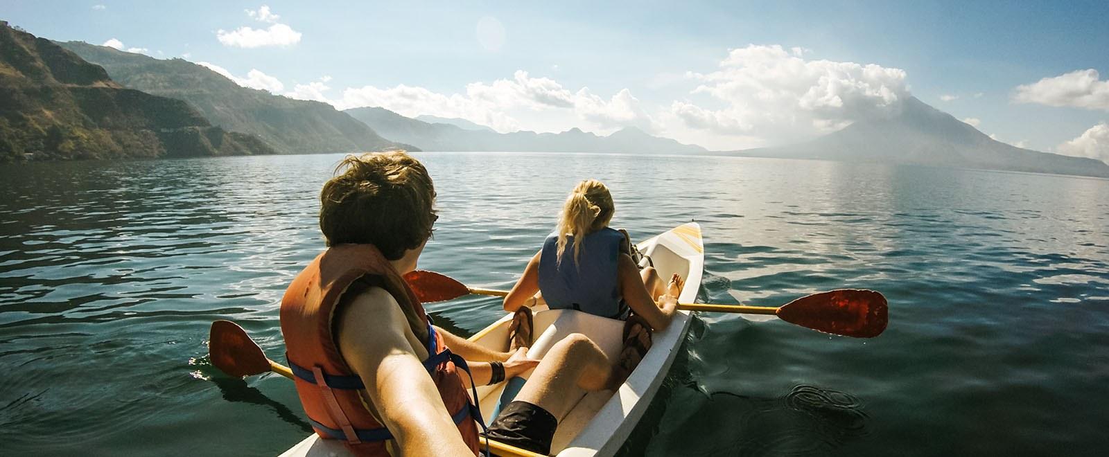 2 people in a canoe