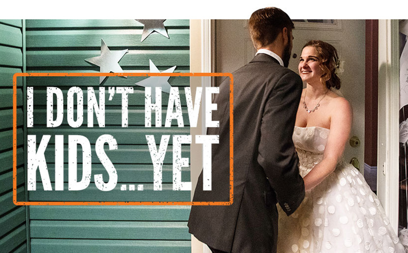 "Image of a newlywed couple entering a house. Caption reads: ""I don't have kids... yet."""
