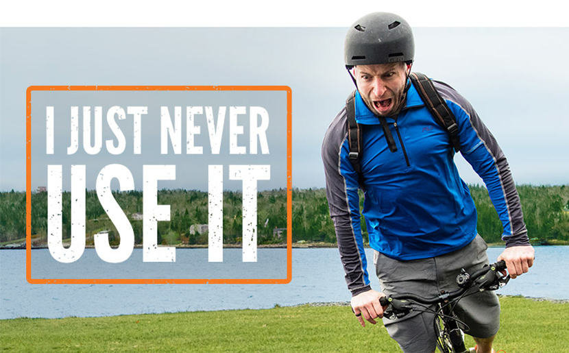 "Photo of a man on a bike about to crash. Caption reads: ""I just never use it."""
