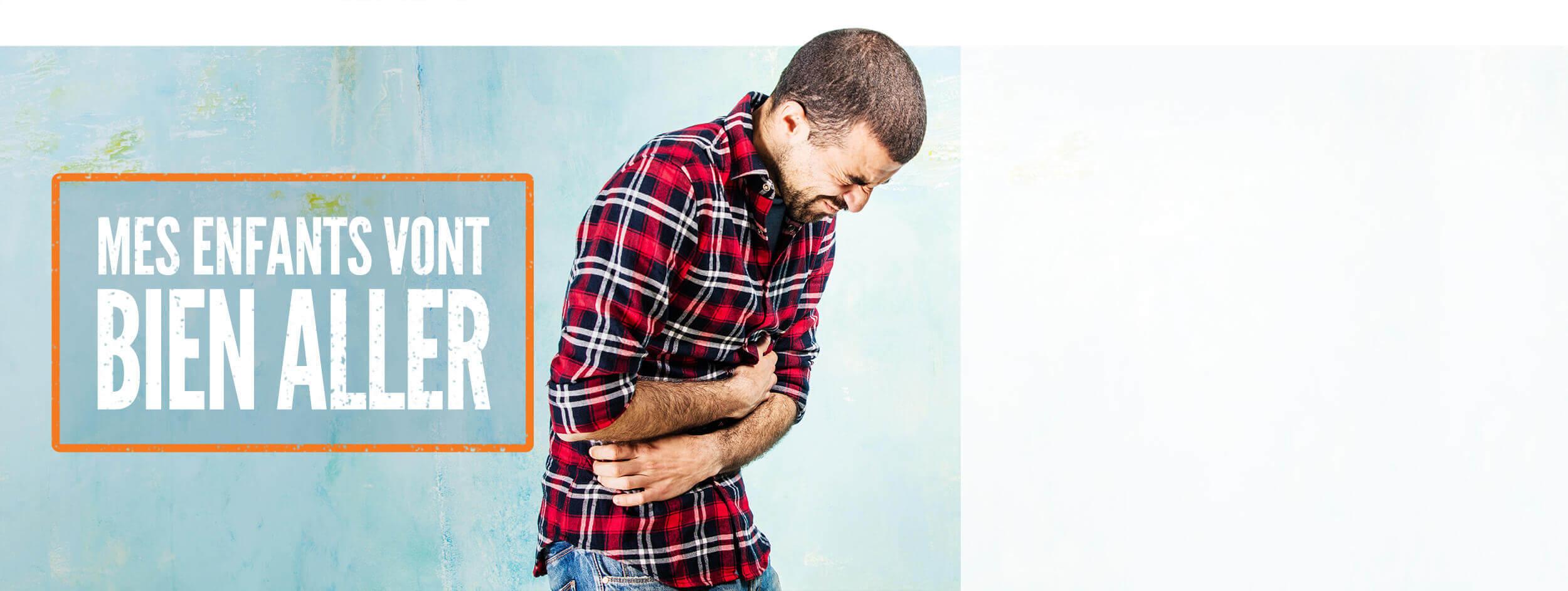 Photo d'un jeune homme souffrant de douleurs abdominales. Le texte « Mes enfants vont bien aller » accompagne la photo.