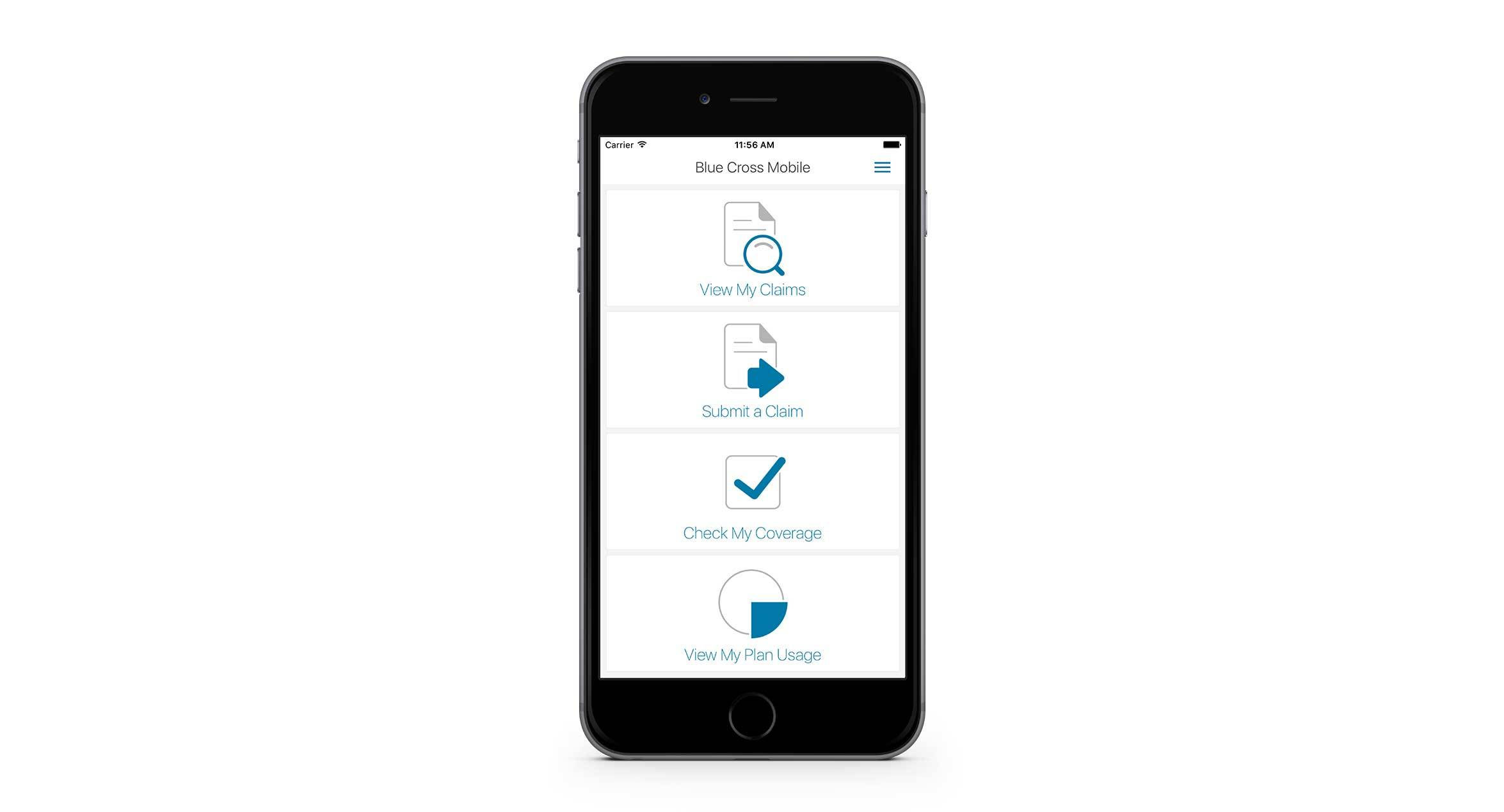 Mobile app showing main screen options: View My Claims, Submit a Claim, Check My Coverage and View My Plan Usage.