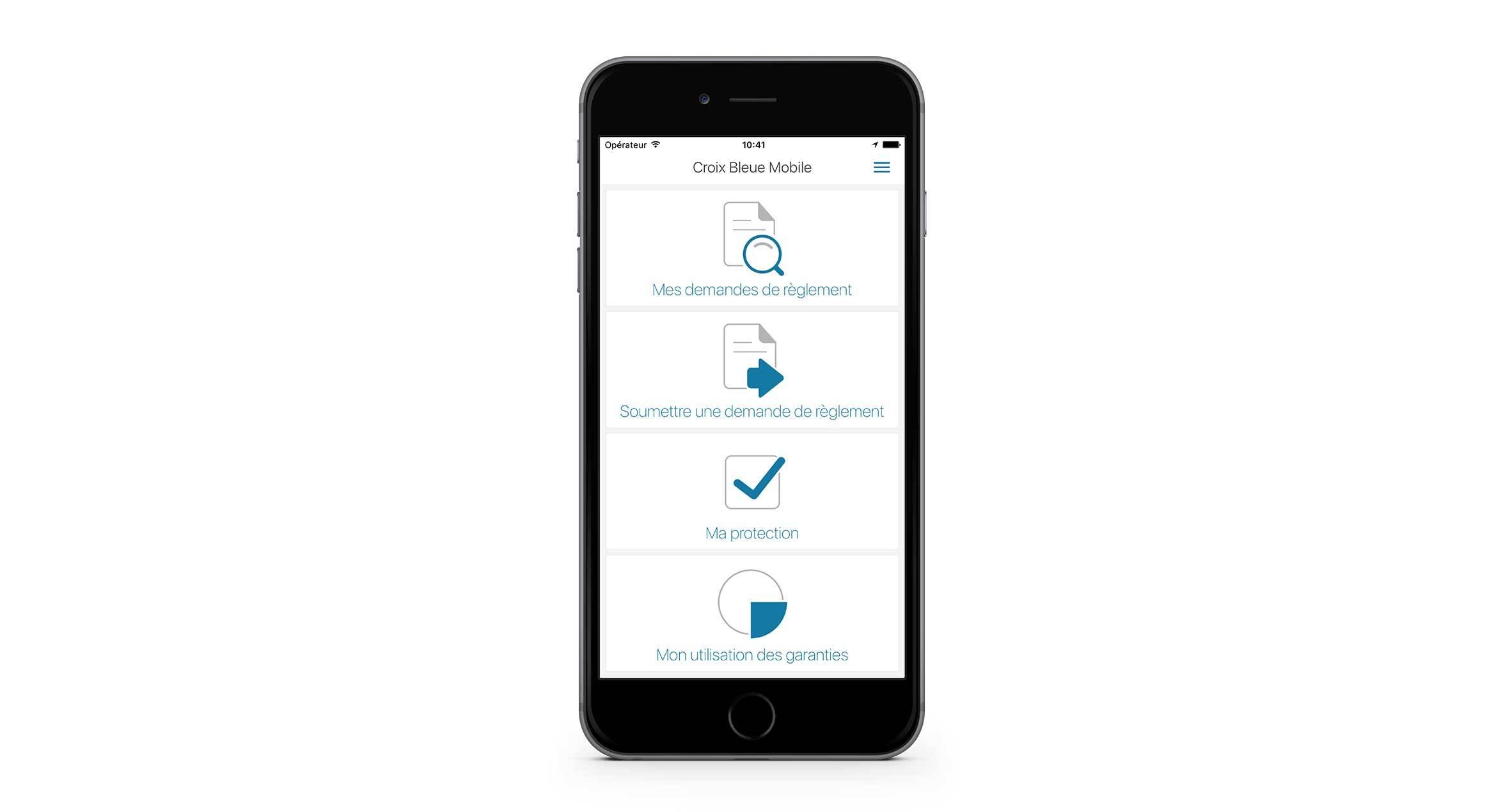 Application mobile affichant les options de l'écran principal: Mes demandes de règlement, Soumettre une demande de règlement, Ma protection et Mon utilisation des garanties.